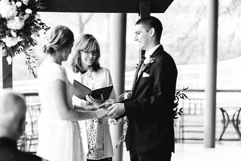 Black and white photo of the ceremony