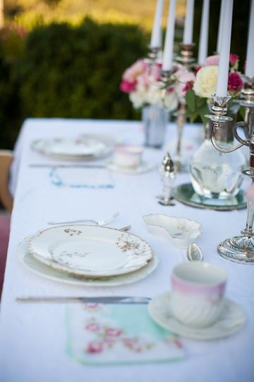 shabby Chic table setting, limoge china, silver candelabra's, vintage hankies, and vintage...