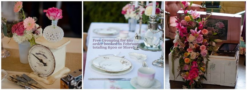 Table settings and white trunk with pink interior!