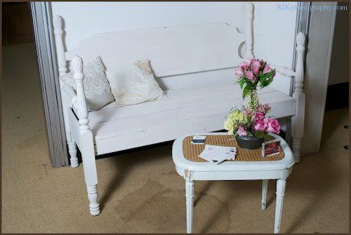 White Bed Bench with table