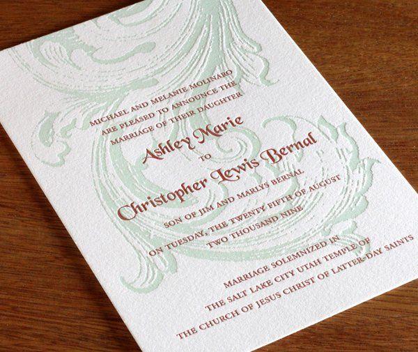 Ashley Letterpress Wedding Invitation Design  http://invitationsbyajalon.com/gallery/ashley.html