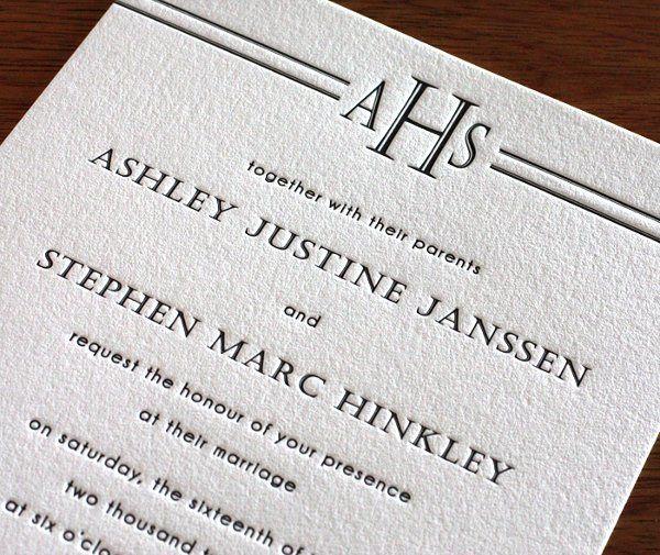 Park Avenue Letterpress Wedding Invitation Design...
