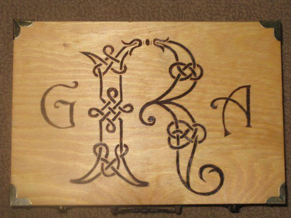 Wood Burned Memory Box (Outside) with Monogram, Name & Date