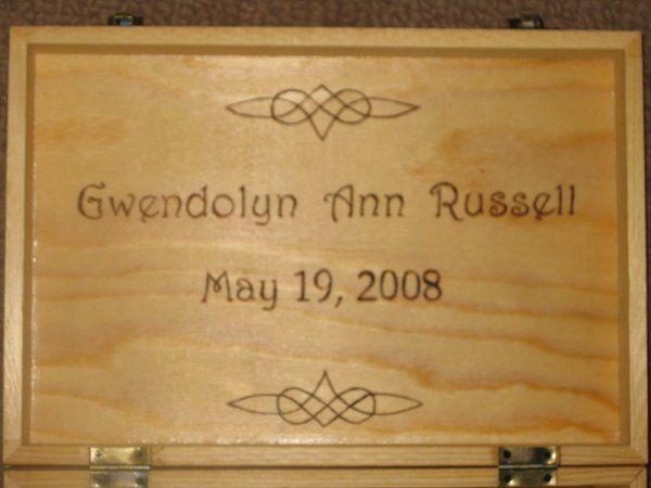 Wood Burned Memory Box (Inside) with Monogram, Name & Date