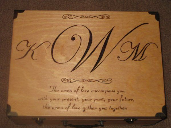 Wood Burned Memory Box (Outside) with Monogram & Quote