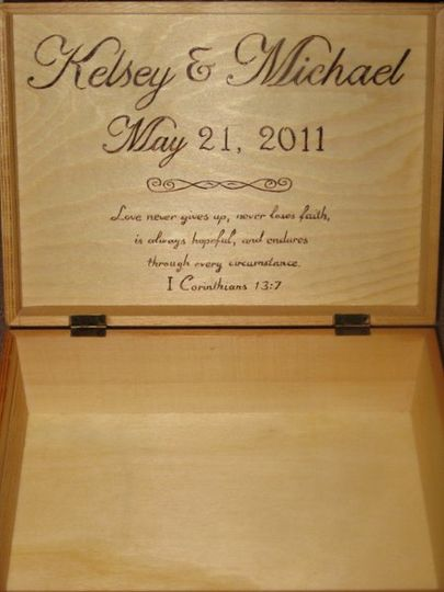Wood Burned Memory Box (Inside) with Monogram & Quote