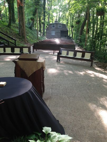 View of guests' seating & bride's cabin at Tanglewood House, Clarksville, TN.