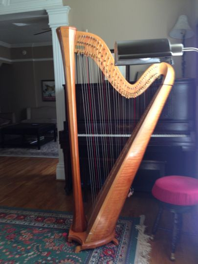A lever harp with 40 strings and levers to sharpen the pitch one-half step.