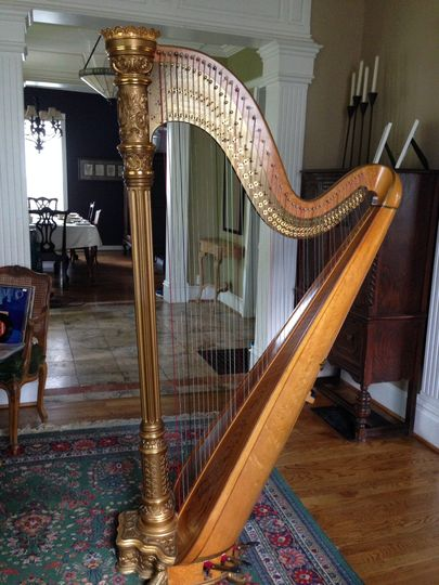 Gold & bronze harp, made in 1924.  Original gold is often patched or covered in bronze, due to the...