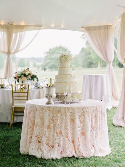Wedding cake display table with lace linens