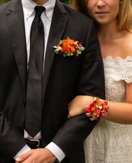 Boutonniere and floral cuff