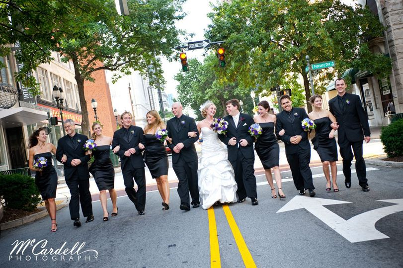 Kress terrace venue greensboro nc weddingwire 800x800 1365108719644 kt bridal party walking down street junglespirit Choice Image