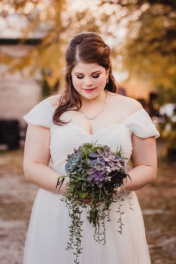 With the bouquet