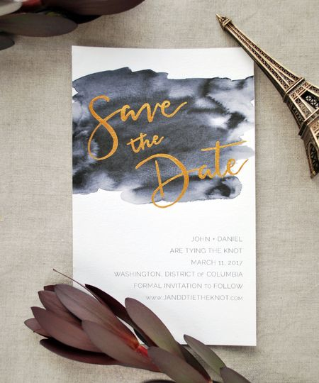 A Save the Date, using a combination of hand calligraphy and custom watercolor design.