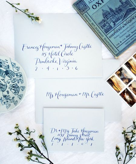 Envelope calligraphy using our Acadia font.
