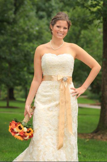 Beautiful bridal shot of Spenser at Hollins College Campus!