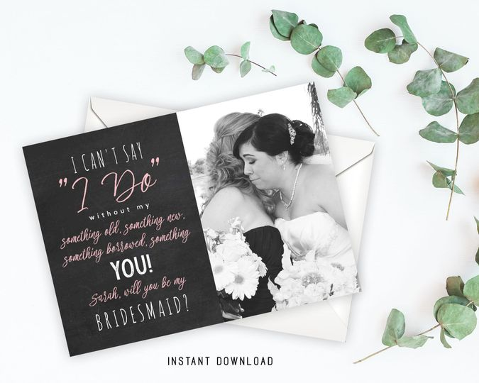 Editable bridesmaid invitation card  Upload a personal photo for each girl!  Size 5x7