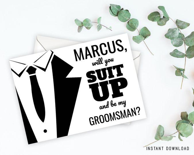 Editable groomsman invitation card  Personalize for each groomsman/best man/ring bearer/usher.  Size...