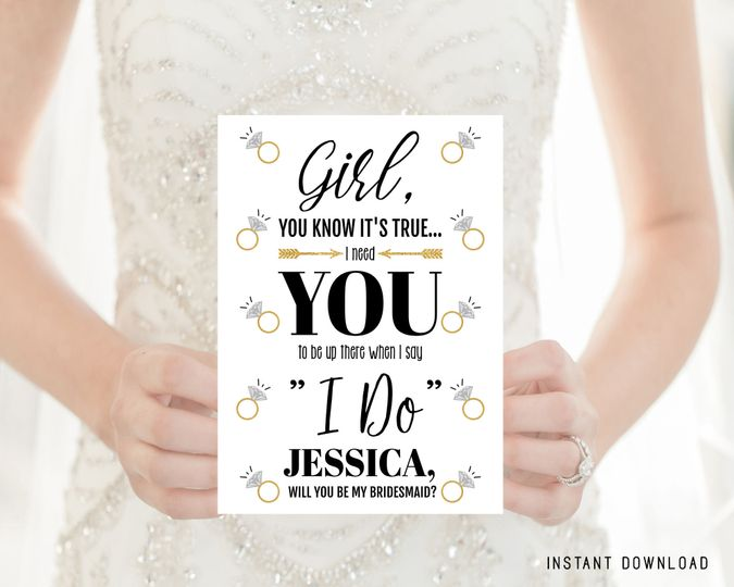 Editable bridesmaid invitation card  Personalize for each bridesmaid/maid of honor/flower girl....