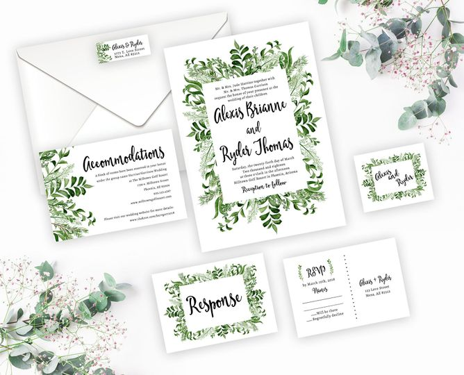 Greenery wedding invitation suite.   Order the entire set digitally or have me print it all!