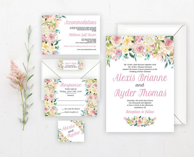 Pastel floral wedding invitation suite.   Order the entire set digitally or have me print it all!