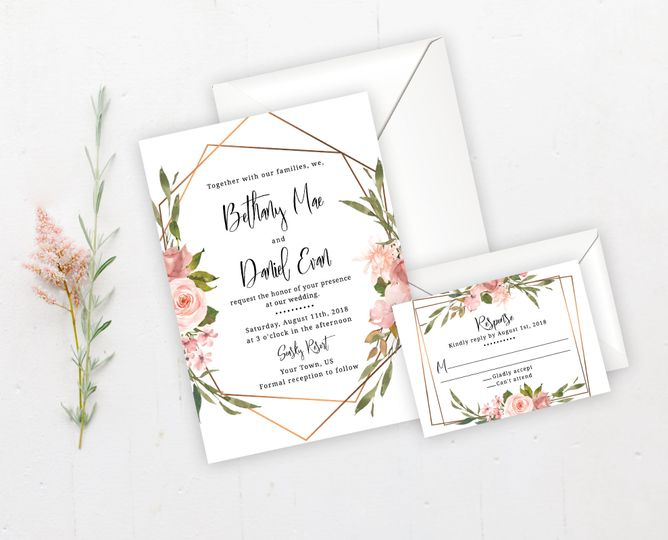 Boho and gold frame wedding invitation set.  Order the entire set digitally or have me print it all!