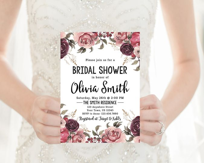 Marsala bridal shower invitation.  Order digitally or printed on high-quality card stock!