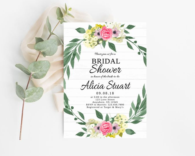 Floral wreath bridal shower invitation.  Order digitally or printed on high-quality card stock!