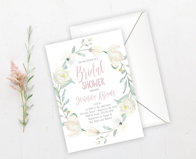 Soft floral bridal shower invitation.  Order digitally or printed on high-quality card stock!