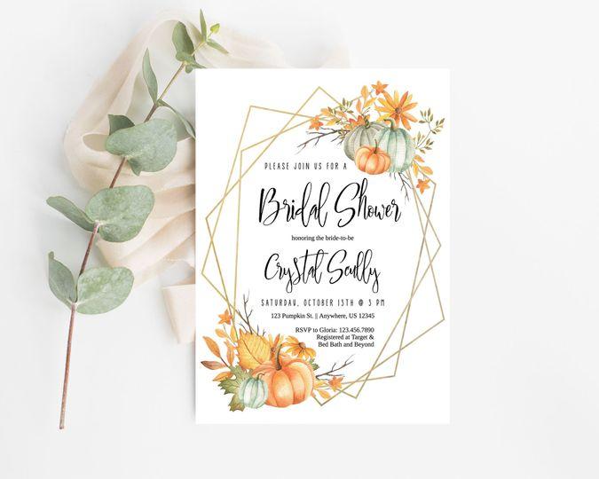 Fall pumpkin wreath bridal shower invitation.  Order digital or printed on high quality card stock!