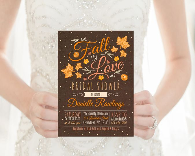 Fall in love bridal shower invitation.  Order digital or printed on high quality card stock!