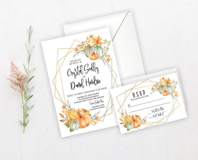 Fall pumpkin wreath wedding invitation set.  Order digital or printed on high quality card stock!