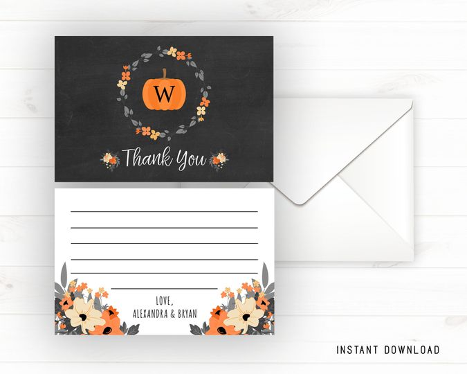Halloween chalkboard thank you card.  Double sided