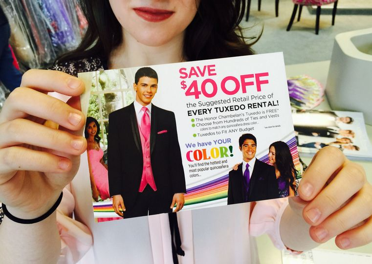 We have an ongoing $40 off Tux rental sale.