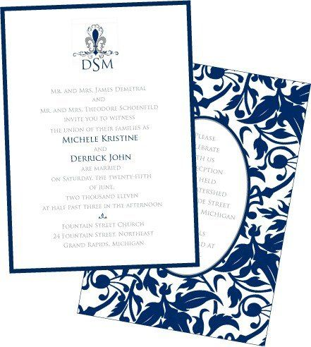Formal Navy wedding invitation with matching receptions card.