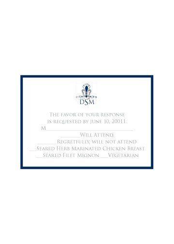 Formal Navy RSVP Card