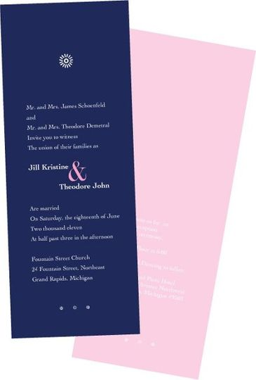 Simple and elegant long navy wedding invitation