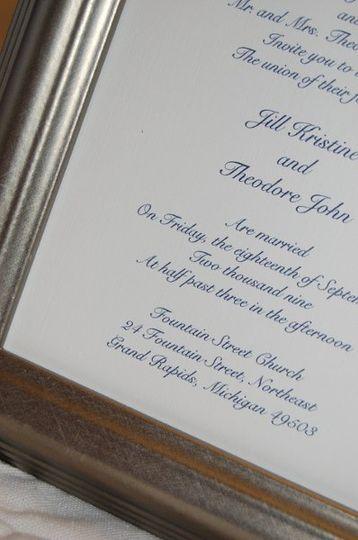Close up of wedding invitation