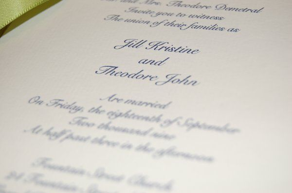 close up to words on invitation