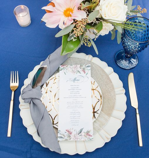 Place setting and menu card