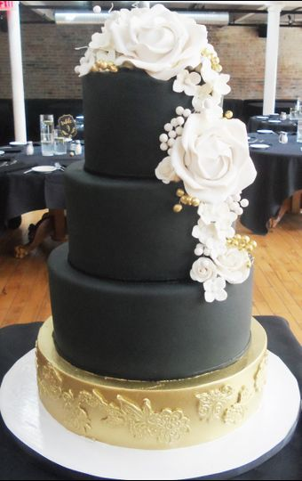Matte black with white rose decor