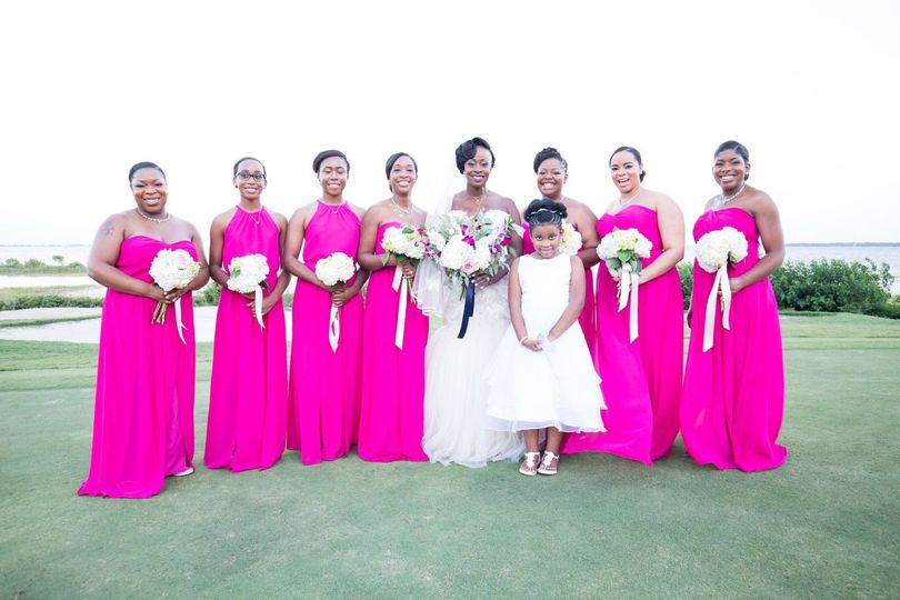 Bride with members of the wedding party