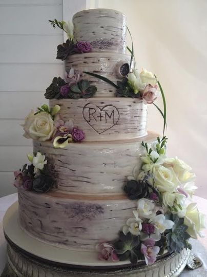 Five tier rustic wedding cake
