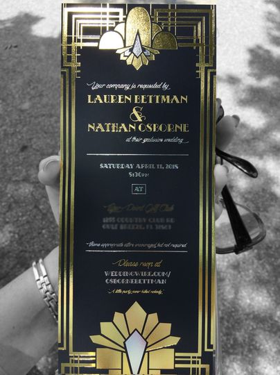 Art Deco Foil Stamped Wedding Invitation  The client was hosting a Gatsby themed wedding and...
