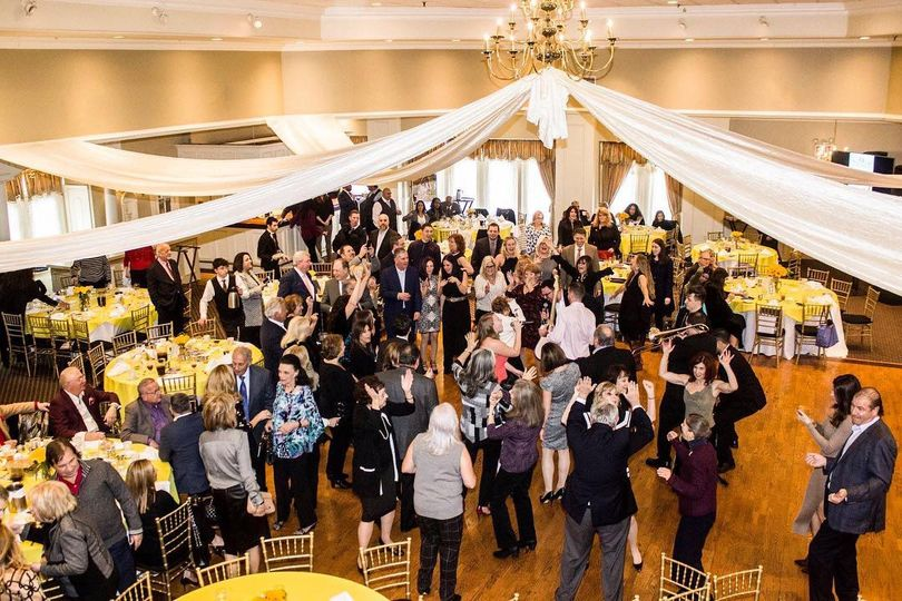 Reception dance floor and drapes