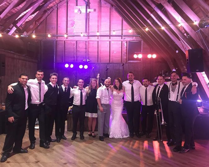 Newlyweds with the band