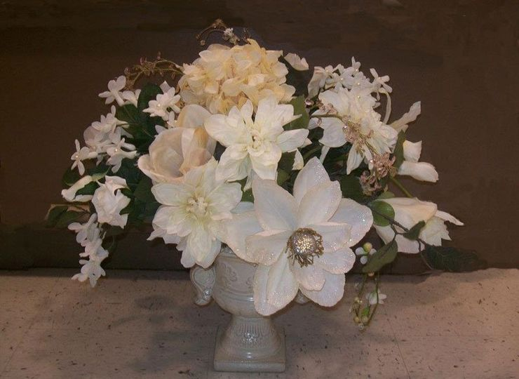 Winter whites holiday centerpiece for mother of the bride's  table ...