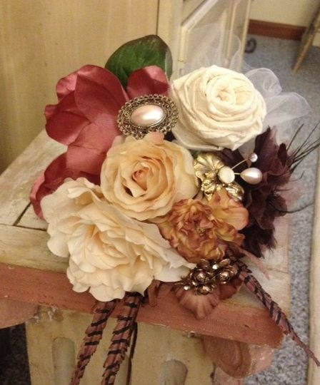 Vintage brooch bouquet with authentic old brooches, the finest of silk flowers, hand - made fabric...