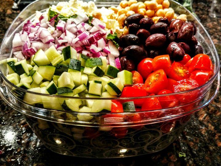 Tmx Arugula Greek Salad With Cucumbers Tomatoes Feta Cheese Chick Peas Kalamata Olives And Red Onion 51 1866689 1568427352 Merritt Island, FL wedding catering