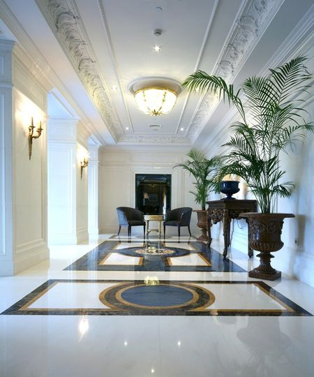 This view welcomes your guests through the main entrance, a grand and luxurious experience.